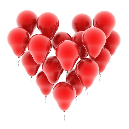 love at first sight: heart balloons isolated on white