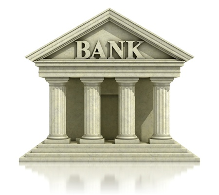 bank icon: 3d bank isolated on the white