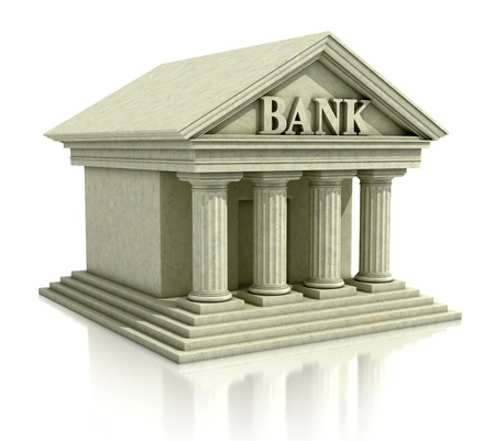 loans: 3d image of bank isolated on the white  Stock Photo