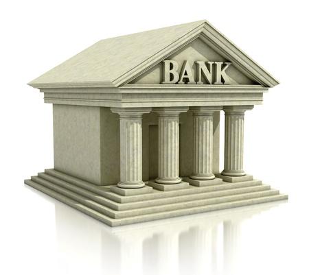3d imagen del banco aislado en el blanco