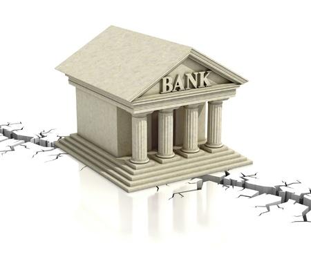 credit crisis: bank crisis 3d concept