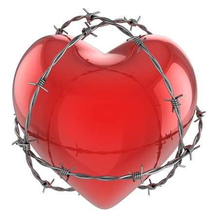 barb wire isolated: Red glossy heart surrounded by barbed wire 3d illustration