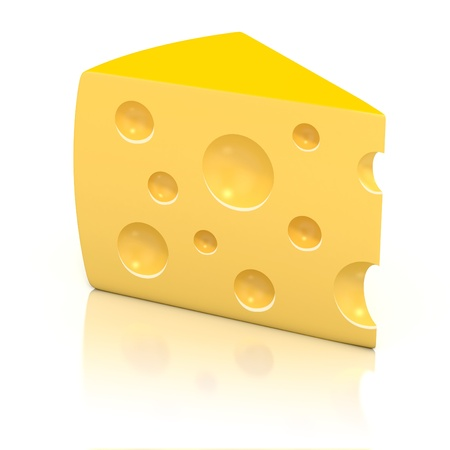 cheez: A peace of cheese over white background 3d illustration