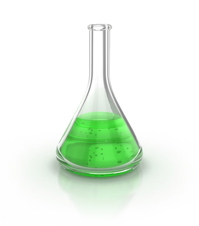 De vidrio para laboratorio lleno de líquido verde sobre la ilustración 3d de fondo blanco