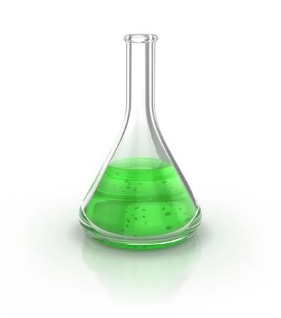 Verrerie de laboratoire déposé auprès de liquide vert sur l'illustration 3d fond blanc