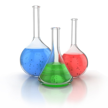 Laboratory glassware filed with green liquid over the white background 3d illustration  illustration