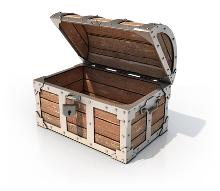 cofre del tesoro: en el pecho del tesoro vacías 3d ilustración