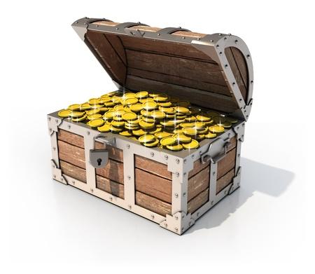 cofre del tesoro: aislado en el pecho del tesoro 3d ilustración Foto de archivo