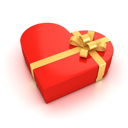 red heart shaped gift box over white background 3d illustration  illustration