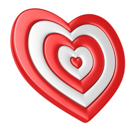 aim: heart shaped target isolated over white 3d illustration