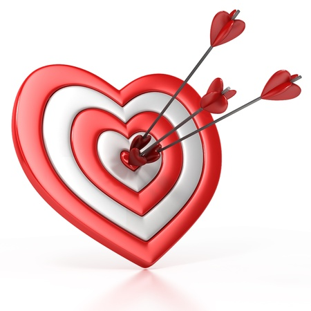 heart shaped target with the arrow in the center isolated over white 3d illustration