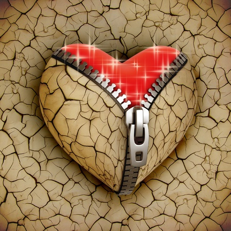 new love 3d concept - new shiny heart under broken one  Stock Photo