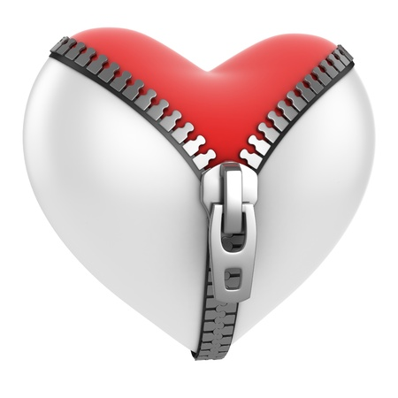 shiny hearts: red heart under unzipped white heart 3d concept  Stock Photo