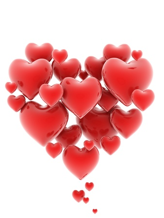 shiny hearts: heart shaped cluster of hearts 3d illustration  Stock Photo