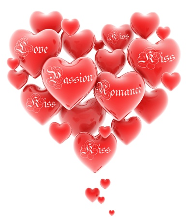 forever: heart shaped cluster of hearts 3d illustration  Stock Photo