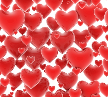 happy valentine s day: seamless 3d hearts pattern