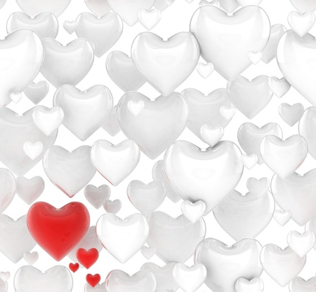 happy valentine s day: seamless 3d hearts background