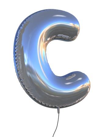 chrome letters: letter C balloon 3d illustration