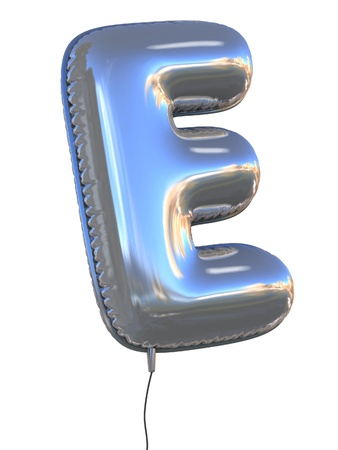 helium: letter E balloon 3d illustration