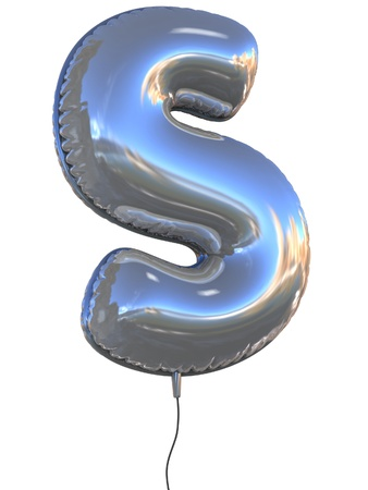 helium: letter S balloon 3d illustration