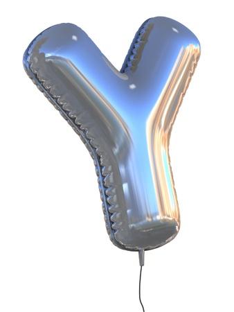 letras cromadas: Y la carta del globo 3d ilustraci�n
