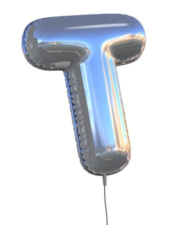 letras cromadas: carta de globo T 3d ilustraci�n