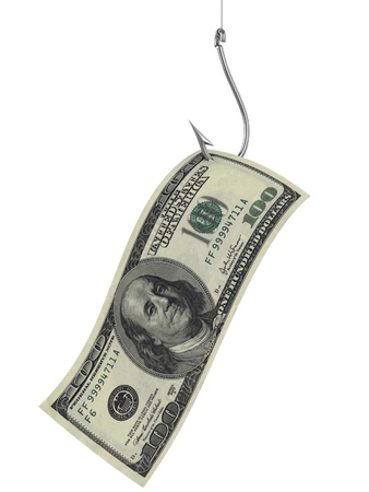 debt trap: hundred dollars as bait on fishing hook  Stock Photo