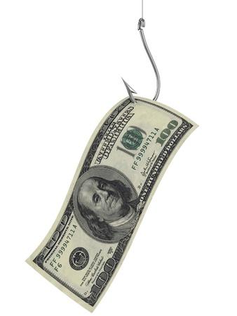 hundred dollars as bait on fishing hook  photo