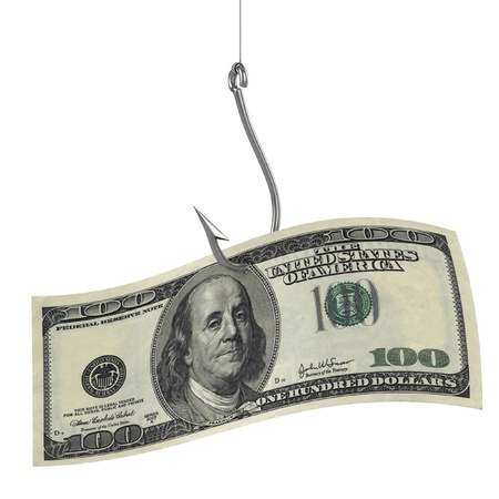 fish hook: hundred dollars on fishing hook