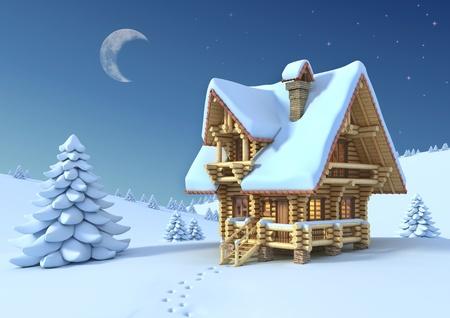 Scène d'hiver ou de Noël - maison en bois rond dans une montagne Banque d'images - 12557984