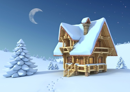 log cabin in snow: winter or Christmas scene - log house in a mountain  Stock Photo