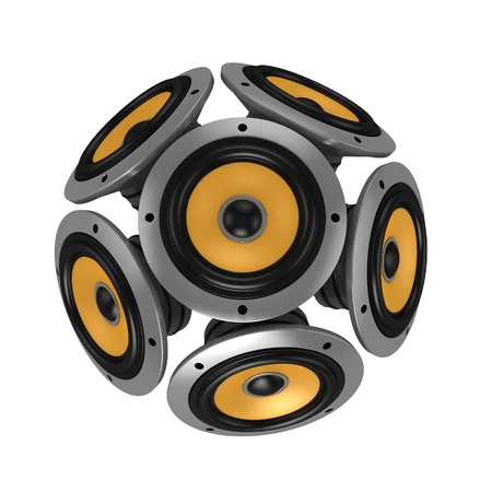 loud speakers: loud speakers forming sphere isolated over white  Stock Photo