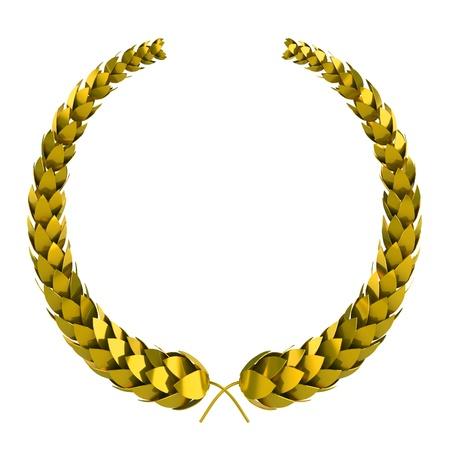 golden 3d laurel isolated on white  photo