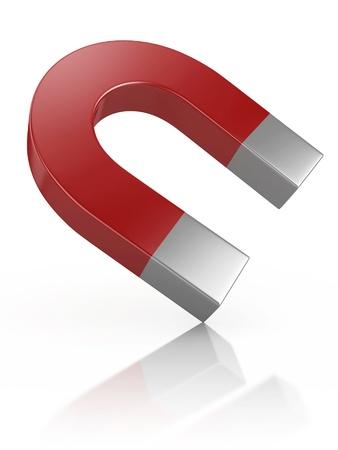 polarity: Horseshoe magnet 3d illustration isolated on the white background  Stock Photo