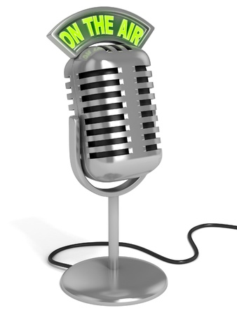 """microfono de radio: 3d ilustración del micrófono - micrófono de la radio con """"en el aire"""" signo en la parte superior aislada sobre fondo blanco"""