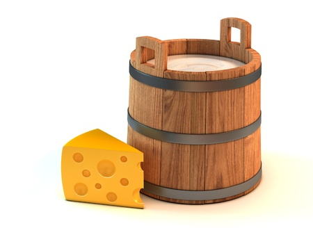 rural wooden bucket: diary products - milk bucket and a piece of cheese