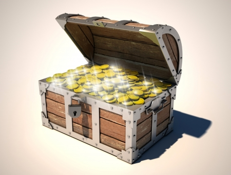 barco pirata: cofre del tesoro Foto de archivo