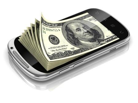 smartphone business: dollars inside smart phone 3d concept