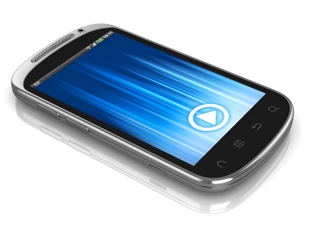 smart phone, touch screen phone isolated on the white background  photo