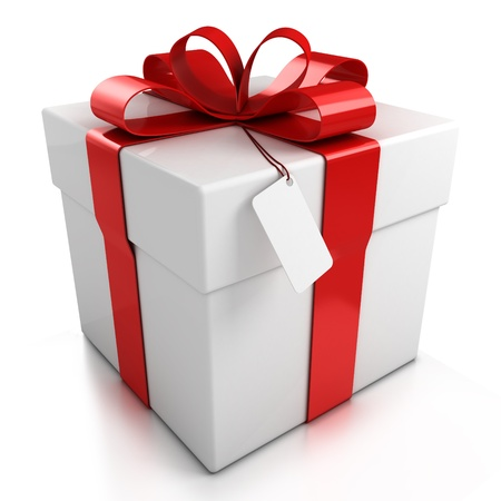wedding gift: gift box over white background 3d illustration