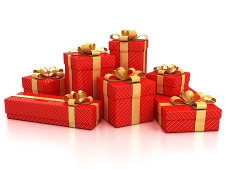 letter box: gift boxes over white background 3d illustration