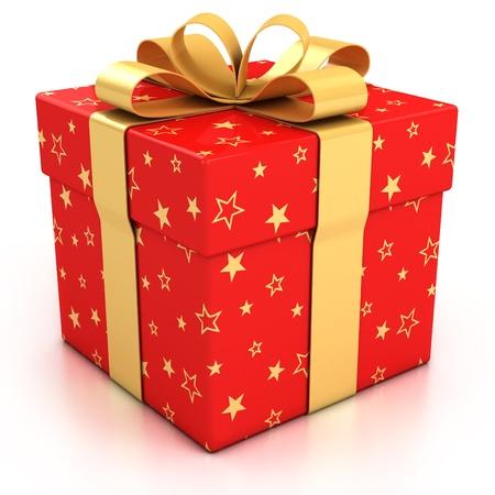 rode geschenkdoos met gouden lint op witte achtergrond 3d illustratie