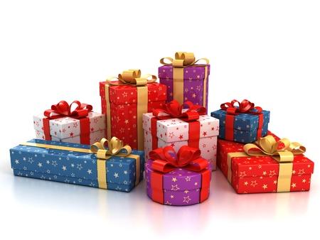 boite carton: coffrets cadeaux color�es sur fond illustration 3d blanc Banque d'images