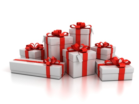 gift packaging: gift boxes over white background 3d illustration