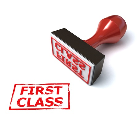 first plane: 3d stamp first class  Stock Photo
