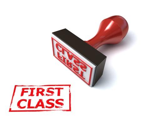 first class: 3d stamp first class  Stock Photo