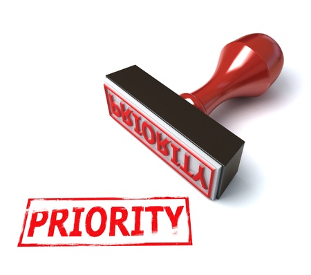 priority: 3d stamp priority  Stock Photo