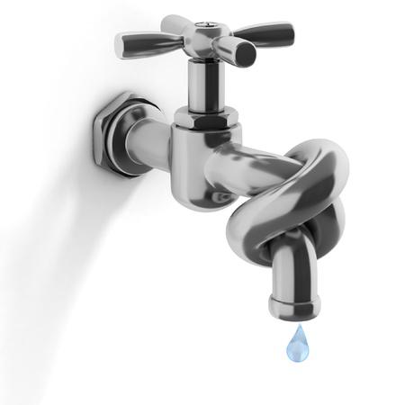 agua grifo: crisis del agua concepto de 3d - grifo atado en un nudo
