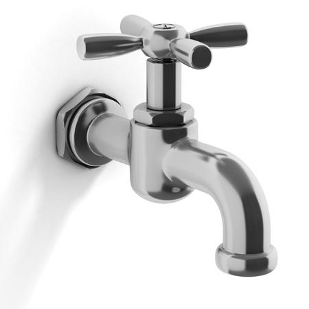 rubinetti: rubinetto dell'acqua su sfondo bianco Archivio Fotografico
