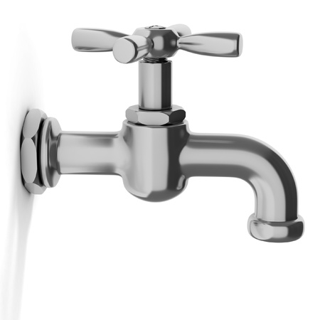 water tap on white background photo